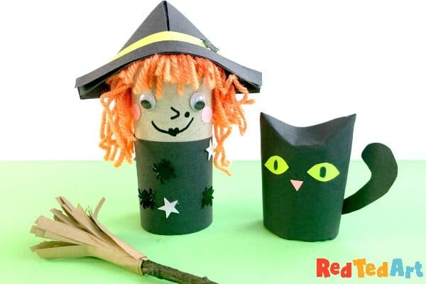 Toilet paper roll witch with cat and broomstick
