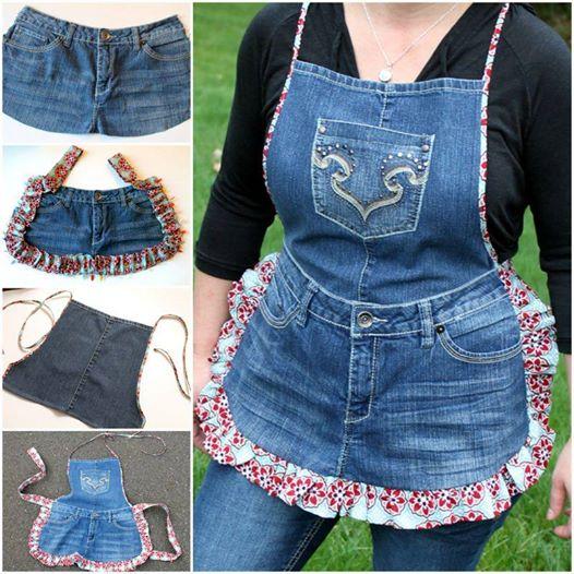 easy denim apron DIY