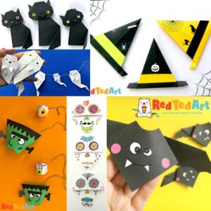 Collage of Halloween Origami Projects for kids - quick and easy paper folding crafts for kids