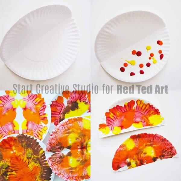 smudge painting turkeys