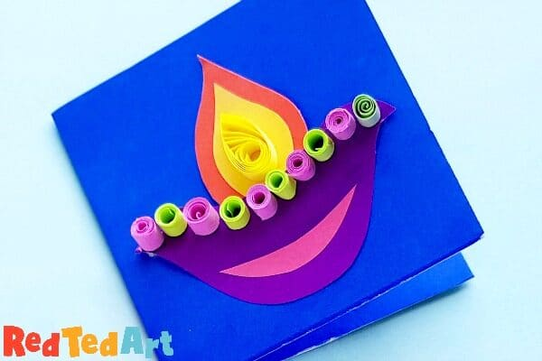 Easy DIYA Diwali Cards for Kids to make
