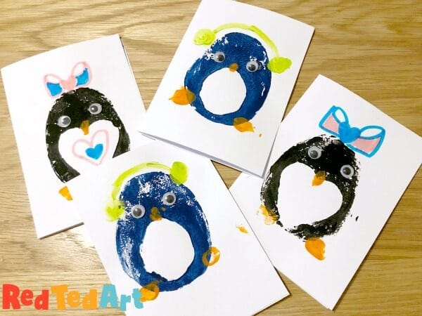 Easy Potato Printing Penguin Cards