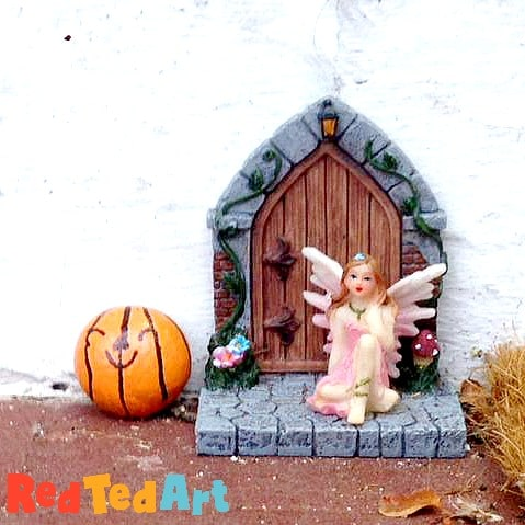 Pumpking Rock Painting for Fairy Doors