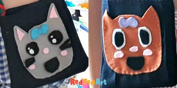 Recycled Bags to sew with kawaii animal pockets