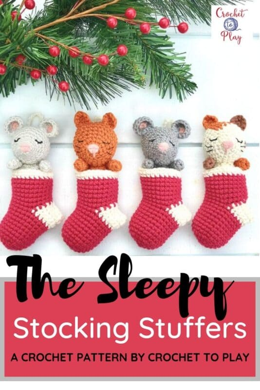 Adorable set of crochet ornaments - make these as individual crochet stocking ornaments or as a stocking advent calendar! So cute and easy!