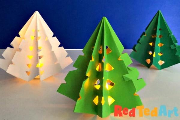 3d Paper Christmas Tree Luminary