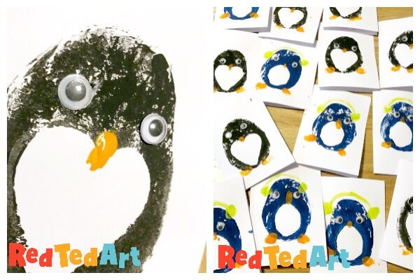 Easy Penguin cards to make with preschoolers