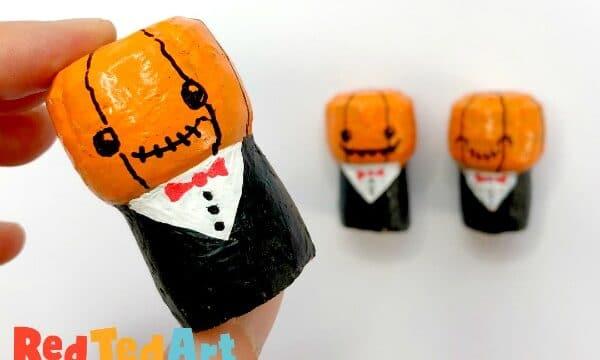 Cute Wine Cork Pumpkin Person for Halloween