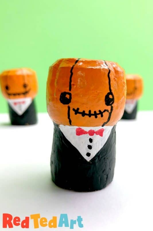Cute Wine Cork Pumpkin Person for Halloween