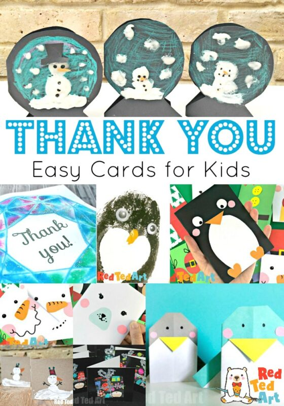 Collage of Thank You Cards for kids to make
