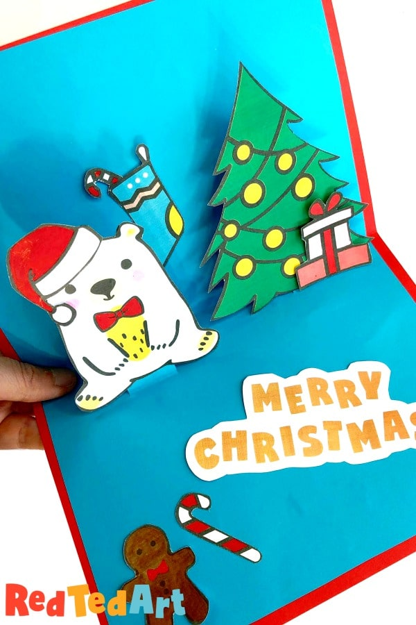 Pop Up Christmas Card with Red Ted Art