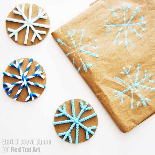 Straw Snowflake Print Making