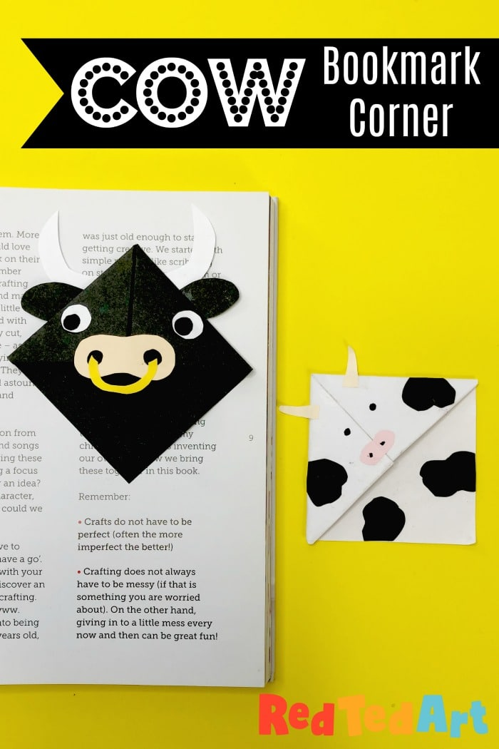 Easy Cow Corner Bookmark Design for kids