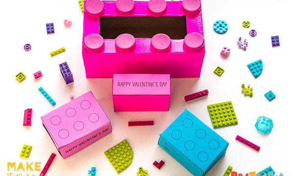 LEGO Valentine's Box & Free Printable Card Gifts
