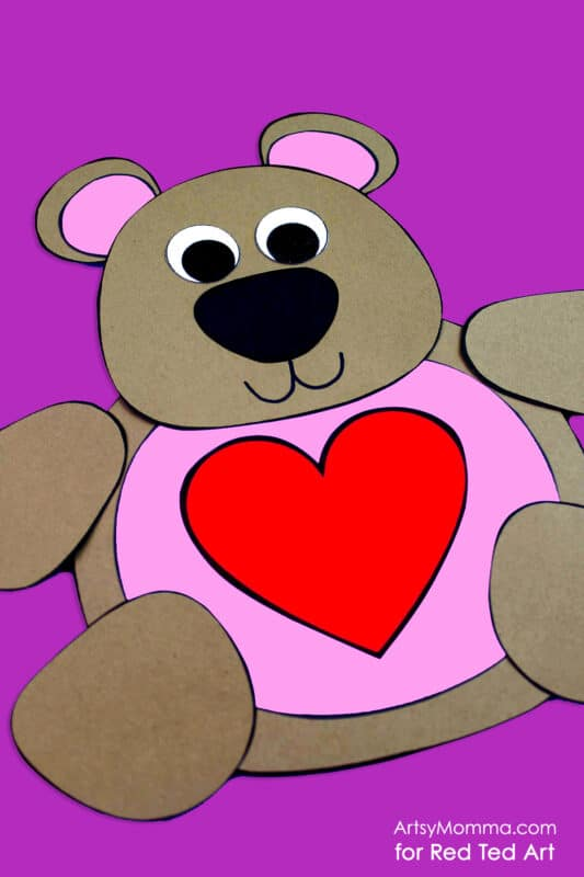 Printable Valentine Teddy Bear Craft