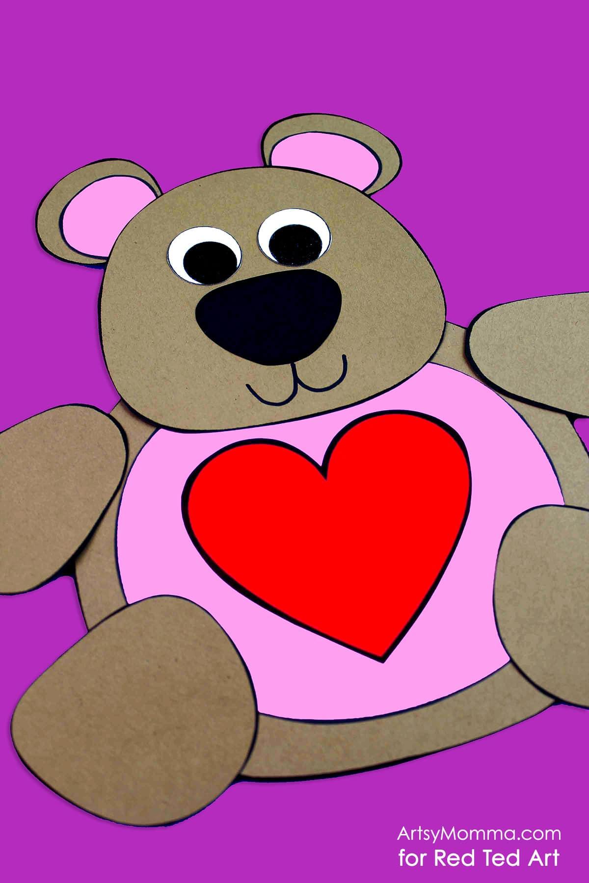 Cute Valentine's Teddy Bear Craft Printable - Red Ted Art ...