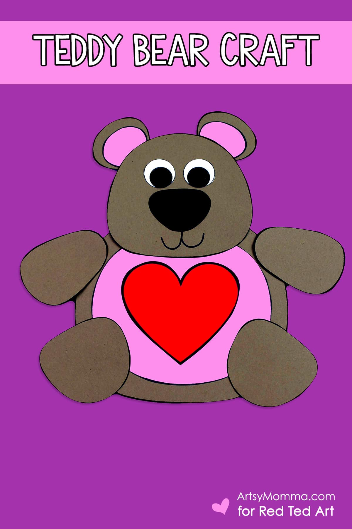 Printable Valentine Teddy Bear Craft