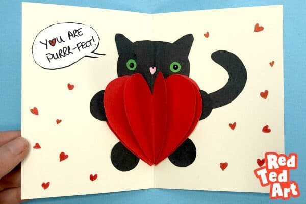 Easy Pop Up Bear Heart Card for Kids to make on Valentines, printable worksheets available!