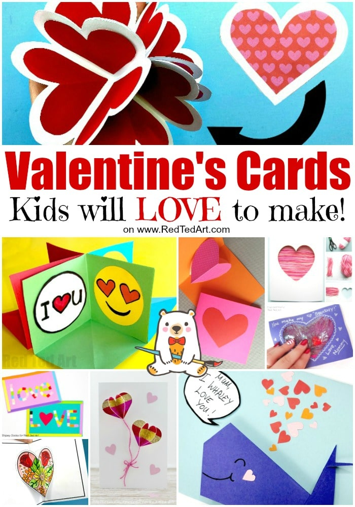 40 Easy Valentines Cards For Kids Red Ted Art Make Crafting With Kids Easy Fun