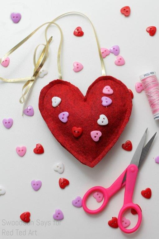 Machine Sewing Felt Hearts for kids