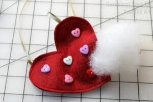 Sewing felt hearts