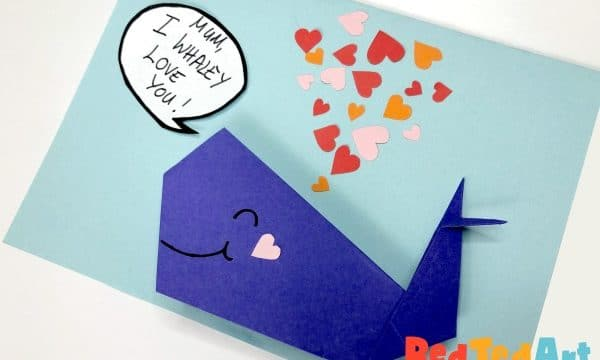 Mother's Day Card - Origami Whale - I Whaley Love You, Mum