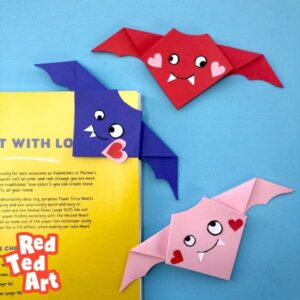 Easy Valentine's Origam Bat Bookmark and Decoration