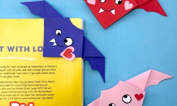 Easy Valentine's Origam Bat Bookmark and Decoration