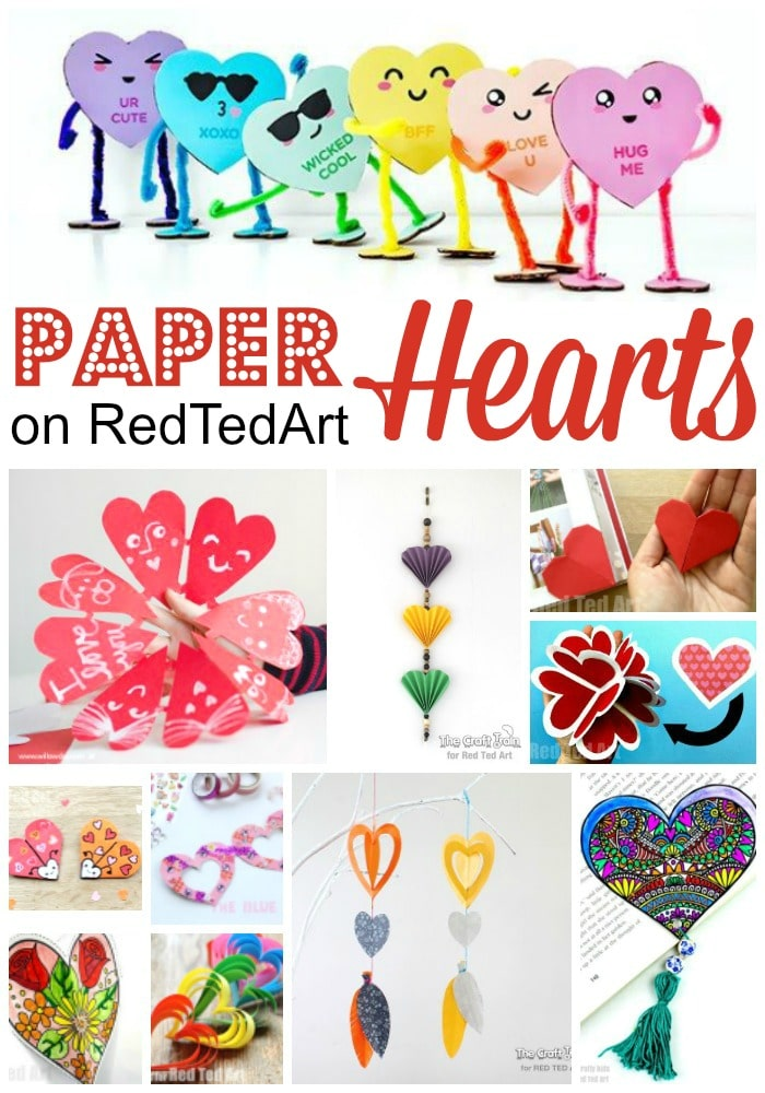 Red Ted Art's Easy Paper Heart Crafts for Valentine's Day