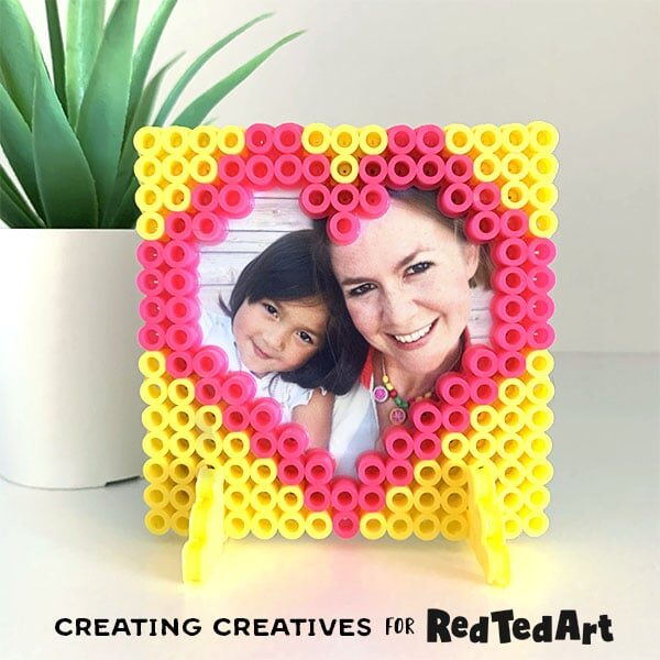 Perler Bead Picture Frame Heart For Valentines Red Ted Art Make Crafting With Kids Easy Fun