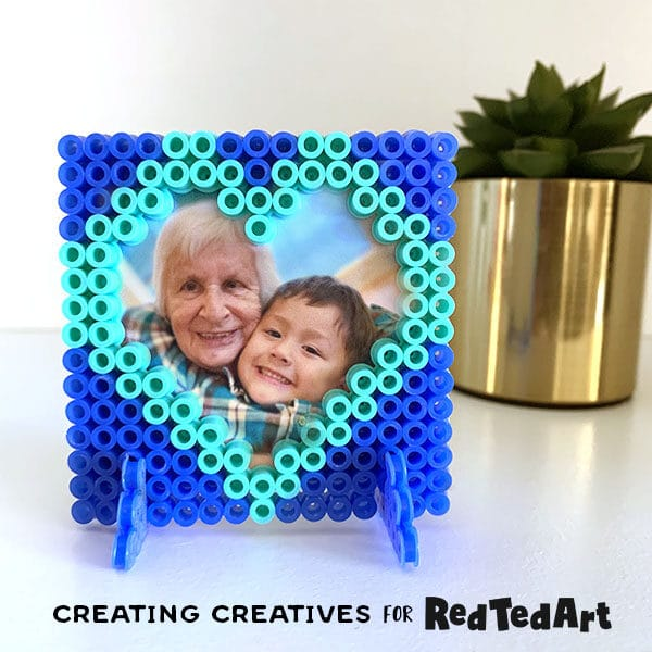 Hama bead picture frame heart for valentine's or mother's dya