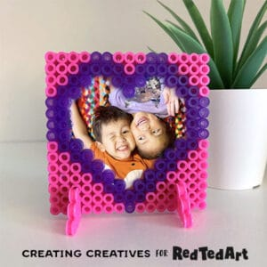 Finished perler bead hear frame for valentine's day
