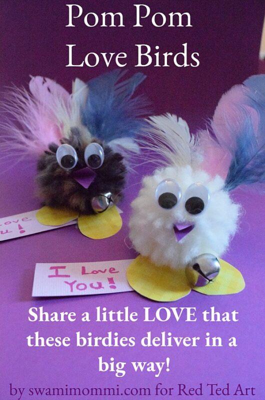 Adorable Pom Pom Love Bird Craft for Valentines