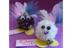 Easy pom pom love birds valentines for kids to make