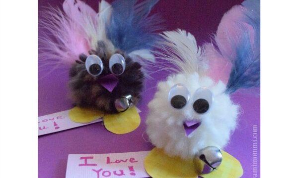 Easy pom pom love birds valentines for kids to make