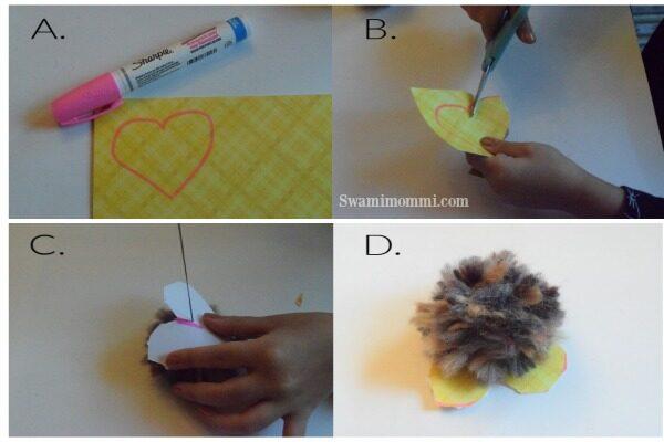 Adding your pom pom love birds feet and message