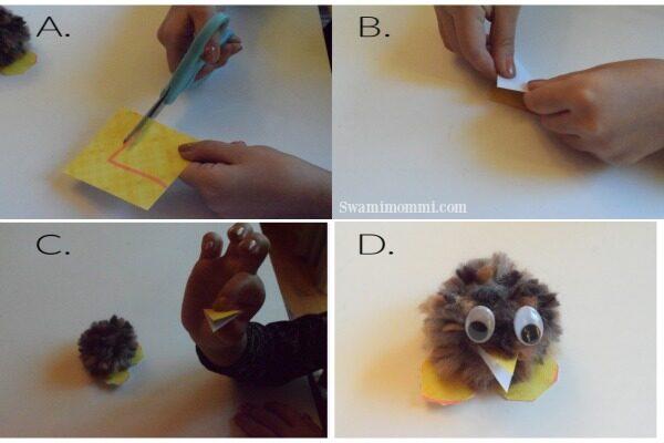 how to make pom pom birds for valentines