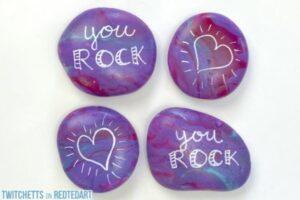 Pour Painted Rocks How To for Valentines