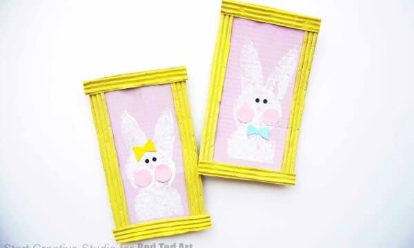 Sponge print bunny art
