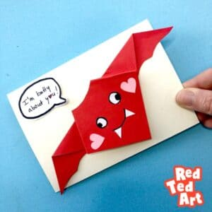 Easy Valentine's Origam Bat Card Making Idea - I am Batty About You