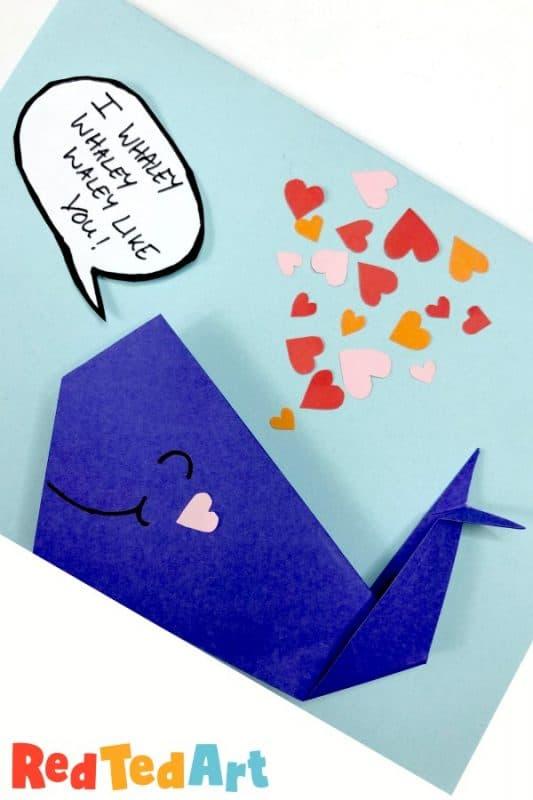 Origami Whale Card: I whaley whaley whaley Like you