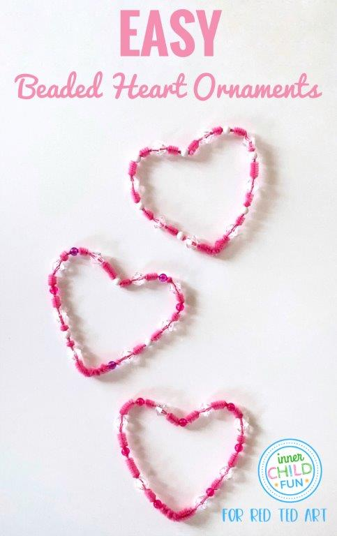 Beaded Heart Ornaments for kids to make at Valentine's