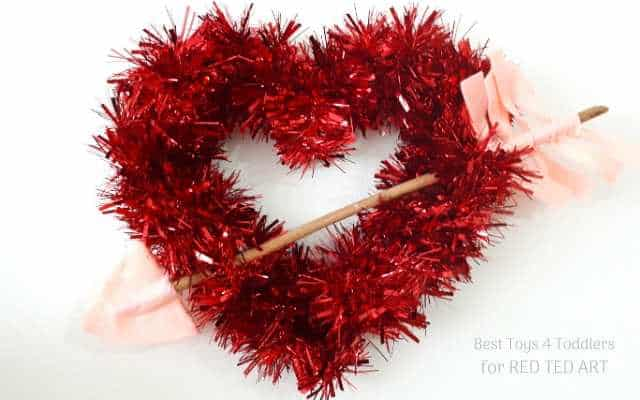 Recycled Tinsel Heart Wreath Red Ted Art Make Crafting With Kids Easy Fun
