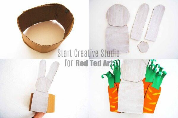 Making the cardboard bunny