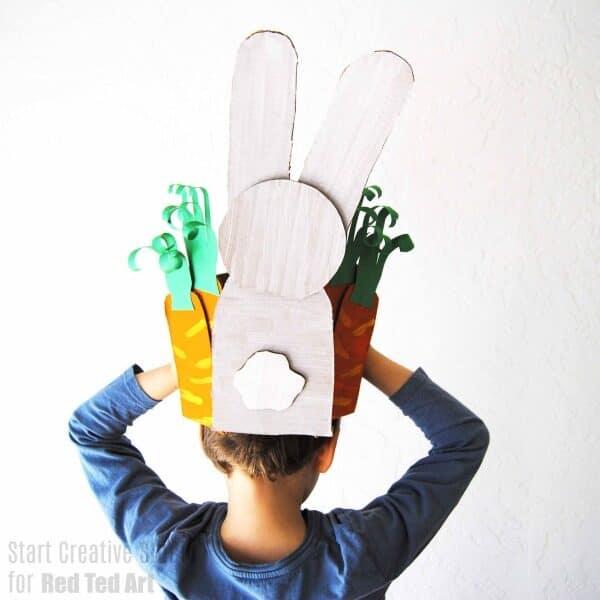 Cardboard Bunny Easter Bonnet parade