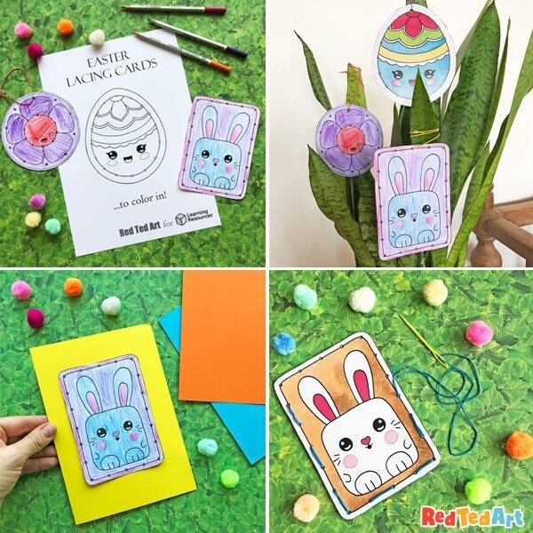 Easter Lacing Cards - Card Making, Ornaments or Garlands
