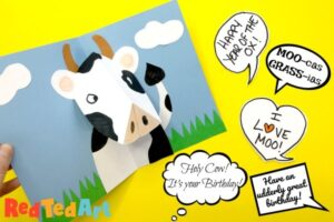 Easy Pop Up Cow Card with fun cow puns