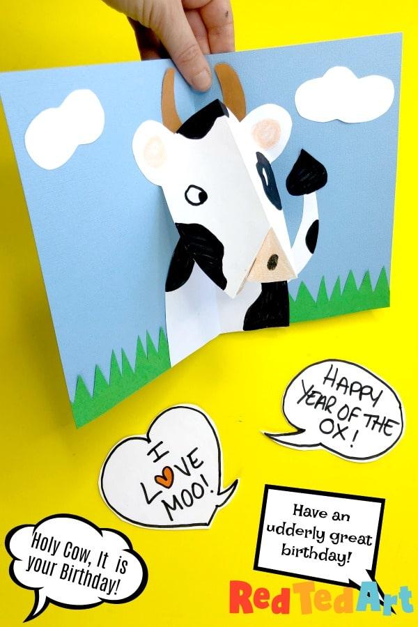 3d Cow Card Pop Up - Birthday Card