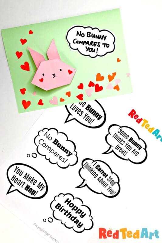 Easy Origami Bunny card