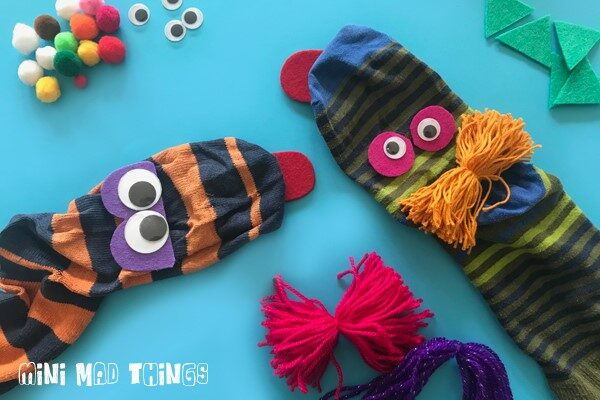 Gluing on sock puppet features